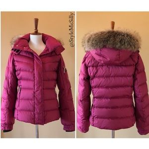 Bogner Fire + Ice pink puffer coat with real fur